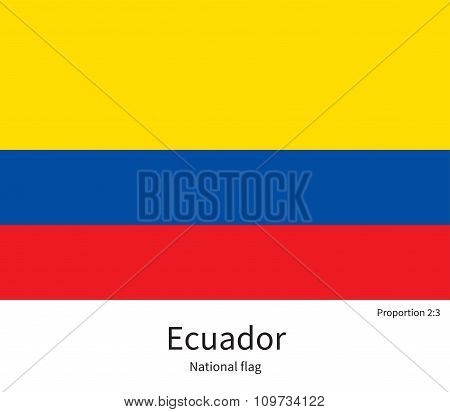 National flag of Ecuador with correct proportions, element, colors