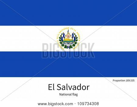 National flag of El Salvador with correct proportions, element, colors