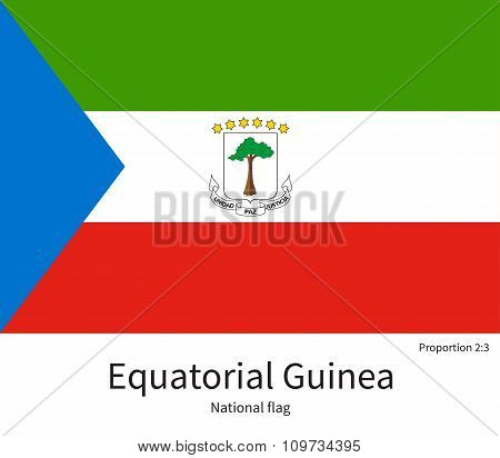 National flag of Equatorial Guinea with correct proportions, element, colors