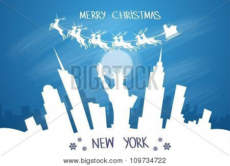 Santa Claus Sleigh Reindeer Fly Sky over New York City USA Silhouette