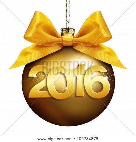 Christmas  Ball, Happy New Year 2016 Golden Text Isolated On White Background