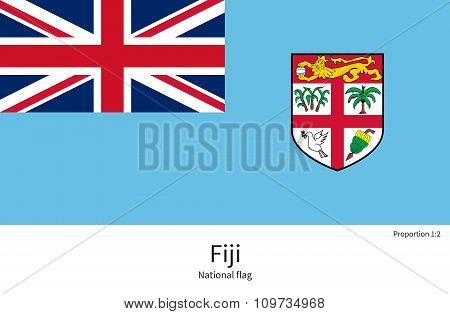 National flag of Fiji with correct proportions, element, colors