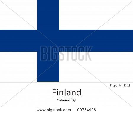 National flag of Finland with correct proportions, element, colors