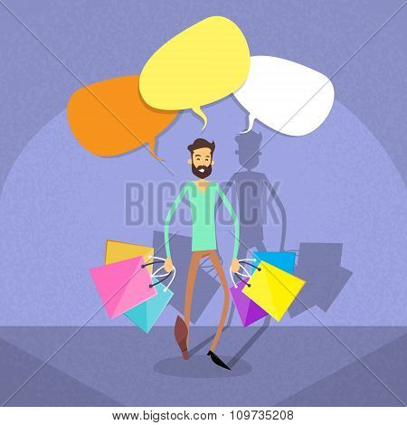 Shopping Man Chat Bubble Copy Space Communication Concept