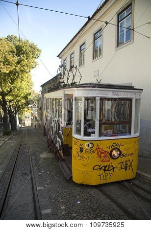 LISBON-PORTUGAL NOVEMBER 06, 2015:  In operation since 1873, The Lisbon tramway network serves the municipality of Lisbon, Portugal.  Yellow tramway are popular with the tourists.