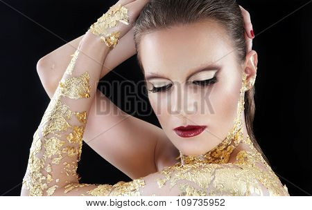 Glamour Makeup Model Portrait, Gilded Body Paint