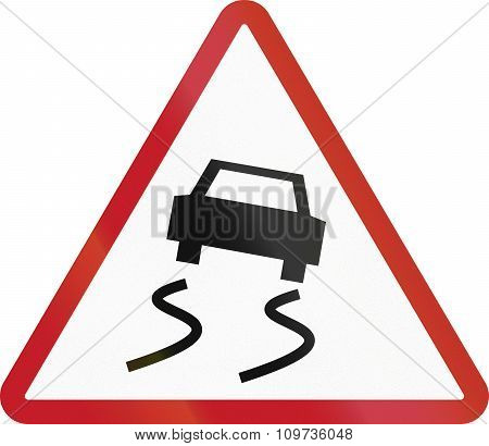 Road Sign In The Philippines - Slippery Road