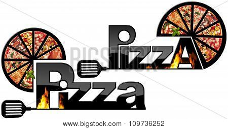 Black Symbols Of Pizza With Flames
