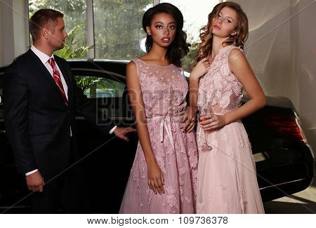 Gorgeous Women Wear Luxurious Dress,posing Beside Black Car