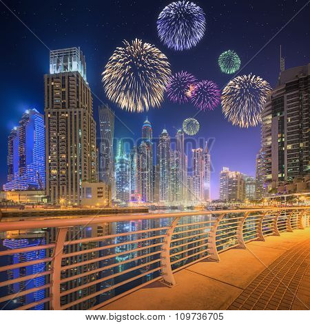 Beautiful fireworks in Dubai marina. UAE