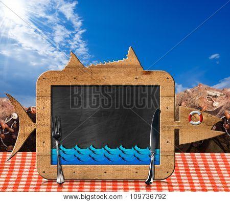 Blackboard Fish Shaped With Fishing Nets