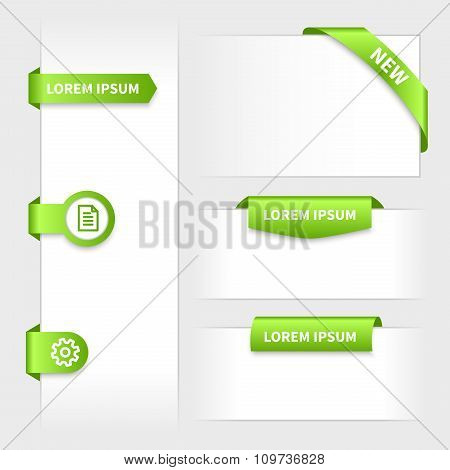 Collection of glossy rounded green 3d stickers on edge.