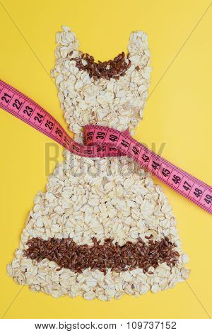 Dress Shape Made From Oatmeal With Measuring Tape