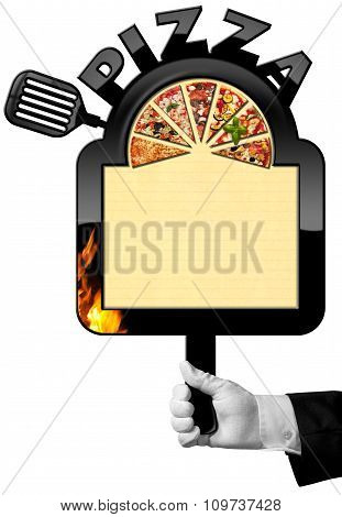 Chef With Banner For Pizza Menu