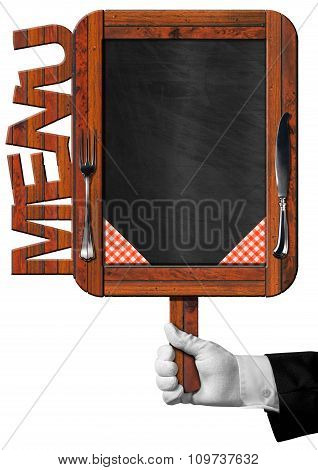 Chef With Old Blackboard With Text Menu