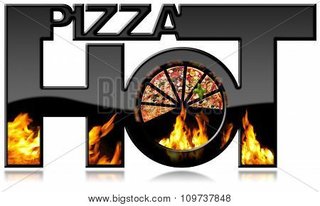 Hot Pizza - Black Symbol With Flames
