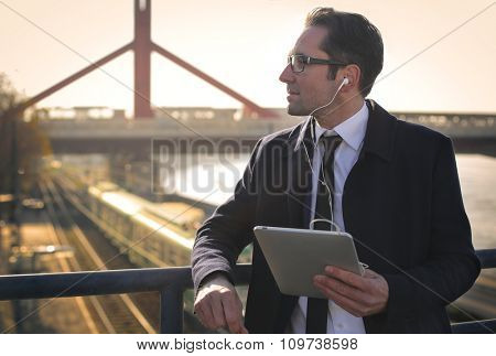 Businessman having a break