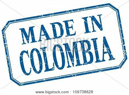 Colombia - Made In Blue Vintage Isolated Label