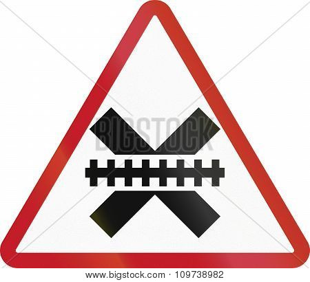 Road Sign In The Philippines - Railway Crossing Advance Warning (for Crossings Without Signal Contro