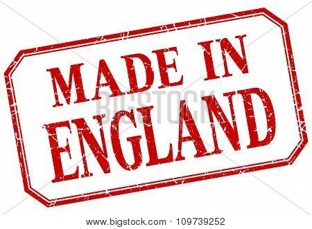 England - Made In Red Vintage Isolated Label