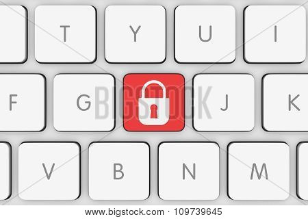 Red Padlock Icon Button On White Computer Keyboard