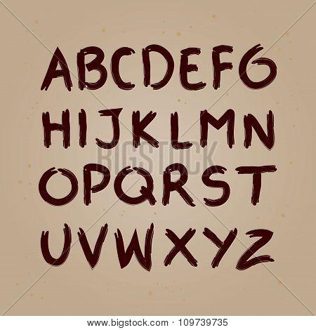 Ink Brush Hand Writing Alphabet