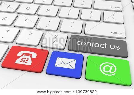 'contact Us' Button With Coloured Contact Icons Computer Keys On White Keyboard