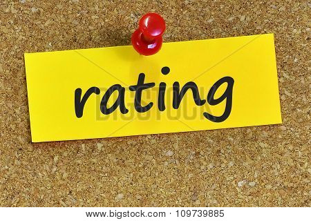 Rating Word On Yellow Notepaper With Cork Background