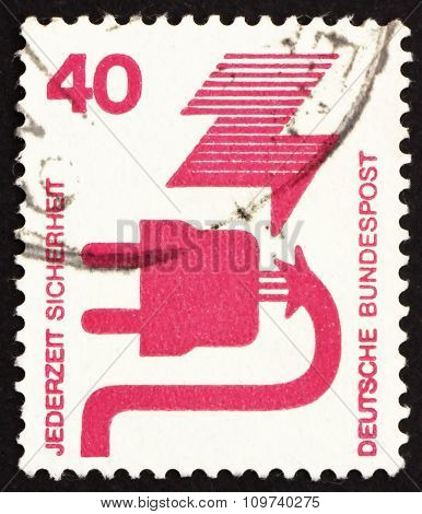 Postage Stamp Germany 1972 Defective Plug, Accident Prevention