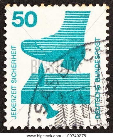 Postage Stamp Germany 1973 Nail Sticking From Board, Accident Prevention