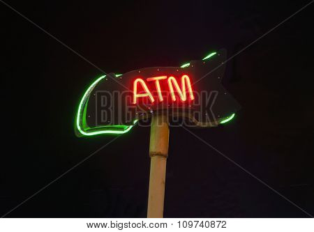 Neon Atm Sign Isloated On Black Background