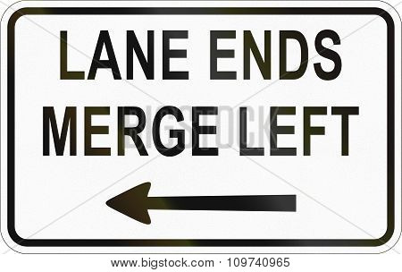 Additional Panel For Road Sign In The Philippines - Lane Ends, Merge Left
