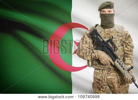 Soldier Holding Machine Gun With Flag On Background Series - Algeria