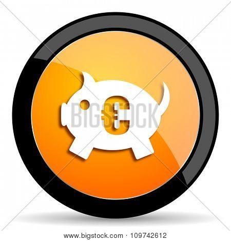 piggy bank orange icon