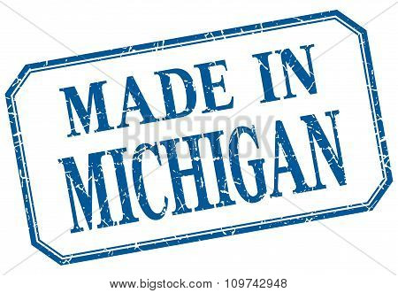 Michigan - Made In Blue Vintage Isolated Label