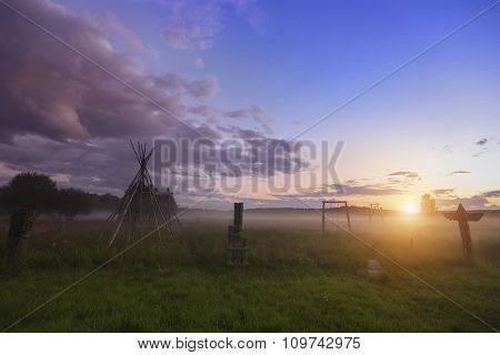 Magical sunset in rural areas, Green field and trees.