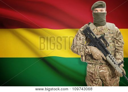 Soldier Holding Machine Gun With Flag On Background Series - Bolivia