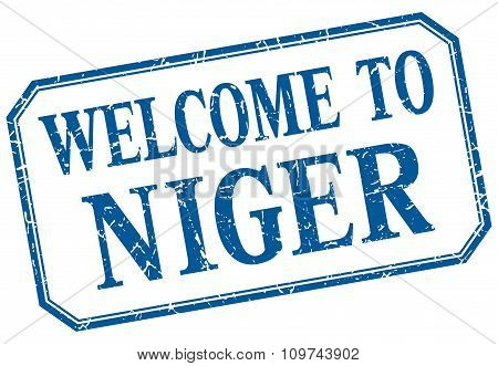 Niger - Welcome Blue Vintage Isolated Label