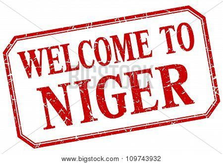 Niger - Welcome Red Vintage Isolated Label