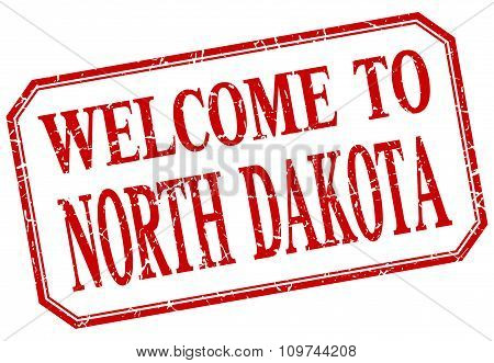 North Dakota - Welcome Red Vintage Isolated Label