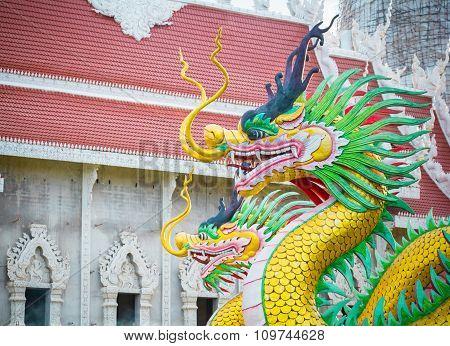 Dragon Statue Of Wat Huay Pla Kung Temple Chiang Rai,thailand