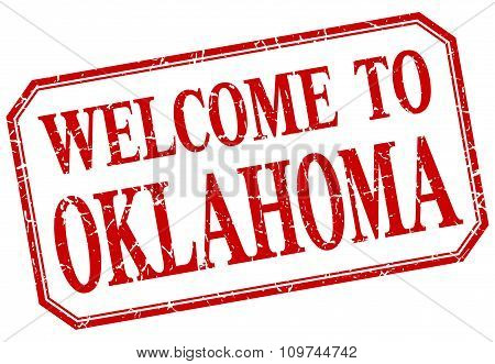 Oklahoma - Welcome Red Vintage Isolated Label