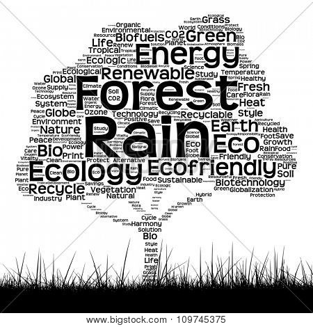 Concept or conceptual black ecology text word cloud as tree and grass isolated on white background