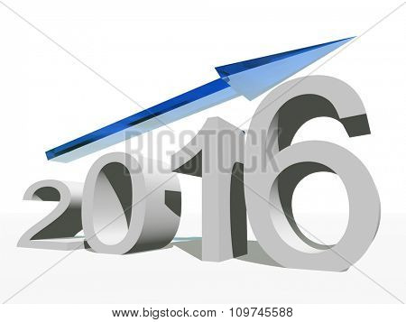 Conceptual 3D blue 2016 year symbol with an arrow isolated on white background