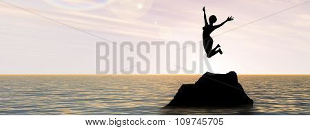 Concept or conceptual young woman or businesswoman silhouette jump happy on cliff over water sunset or sunrise sky background banner