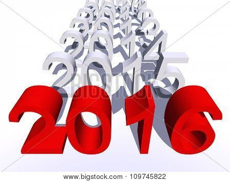 Conceptual 3D red 2016 new year text standing out of the crowd isolated on white background