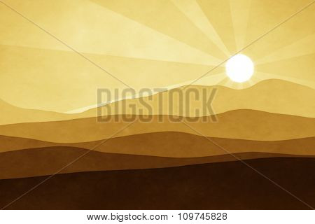 An abstract brown landscape background graphic with sun