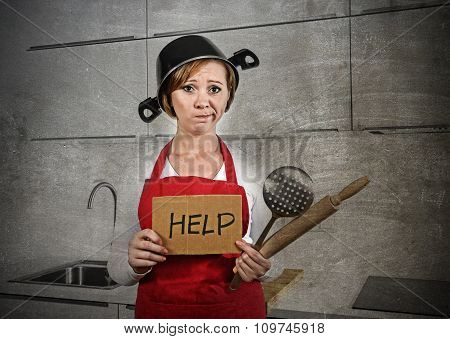 Home Cook Woman Confused And Frustrated In Apron And Cooking Pot As Helmet Asking For Help