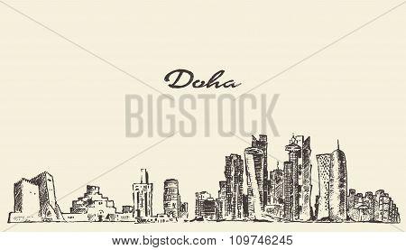 Doha skyline vector illustration hand drawn