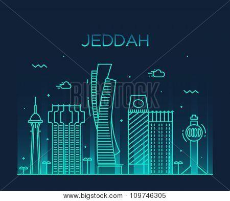 Jeddah skyline vector illustration linear style